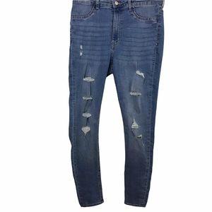 H&M Divided Super Skinny High Waist Distressed Destroyed Jeans